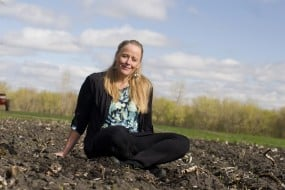 """""""Soil Sister,"""" Atina Diffley, author of Turn Here Sweet Corn: Organic Farming Works, photo by Laurie Schneider"""