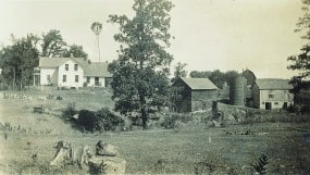 The Diffley homestead on the northeast corner of Diffley and Dodd Roads,Eagan, Minnesota, was settled in 1855 by Martin's great-grandparents from Ireland. Photograph circa early 1900s.