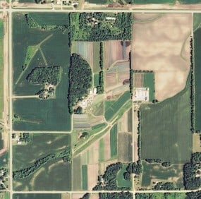 In 2005, the 43 small fields on our new farm produced approximately 2,895,738 food servings. Photograph USDA National Agriculture Imagery Program.