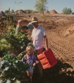 Maize, Eliza, Martin Diffley, in broccoli next to development at Gardens of Eagan 1989