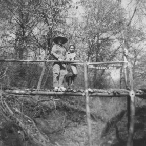Aunt Mary Diffley on the bridge Martin Diffley built across the ravine in the 1960s.